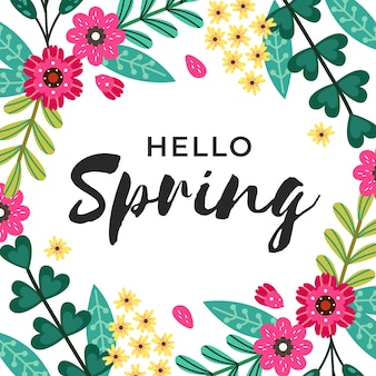 Hello spring lettering design with pink flowers