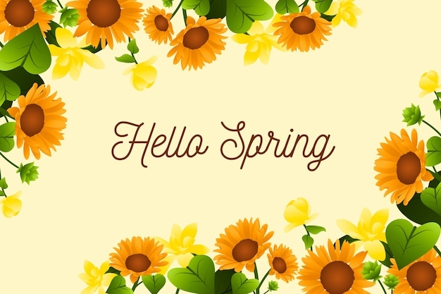 Hello spring lettering design with sunflowers
