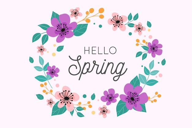 Hello spring lettering design with wreath