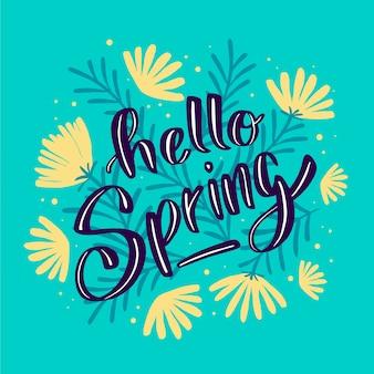 Hello spring lettering design