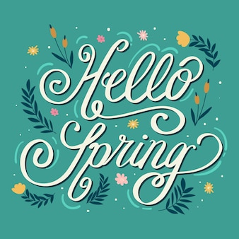 Hello spring lettering in green background