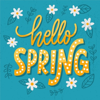Hello spring lettering greeting in golden tones