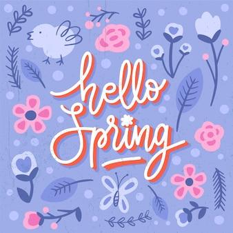 こんにちは、青い植物と鳥の春レタリング挨拶