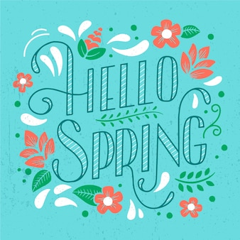 Hello spring lettering greeting and petals