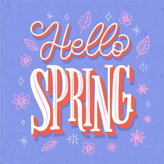 Hello spring lettering greeting vintage design