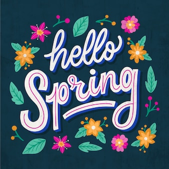 Hello spring lettering greeting with outline