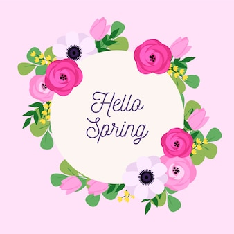 こんにちは、カラフルな花のフレームで春のレタリング