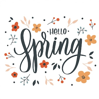Hello spring lettering inscription with flowers. love card.