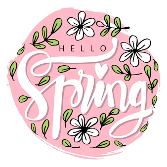 Hello spring lettering in modern calligraphy style