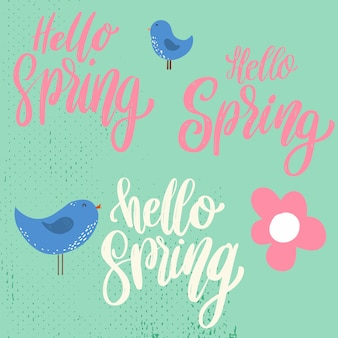 Hello spring. lettering phrase on background with flowers decoration.