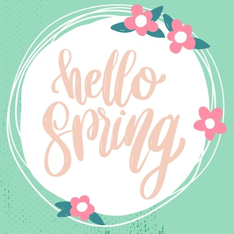 Hello spring. lettering phrase with flowers decoration.  element for poster, card, banner.  illustration