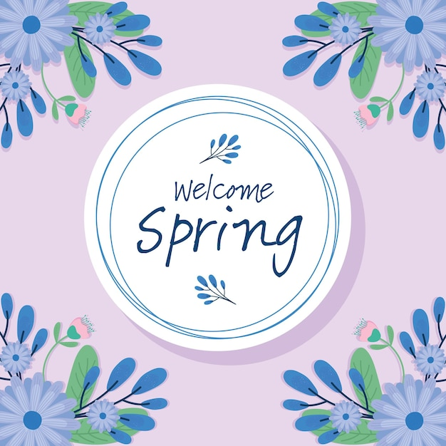 Hello spring lettering seasonal card with purple flowers in circular frame  illustration design