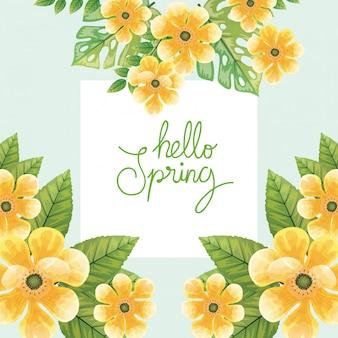 안녕하세요 봄, 꽃과 함께 봄 시즌 레터링 노란색과 자연 장식 그림을 나뭇잎