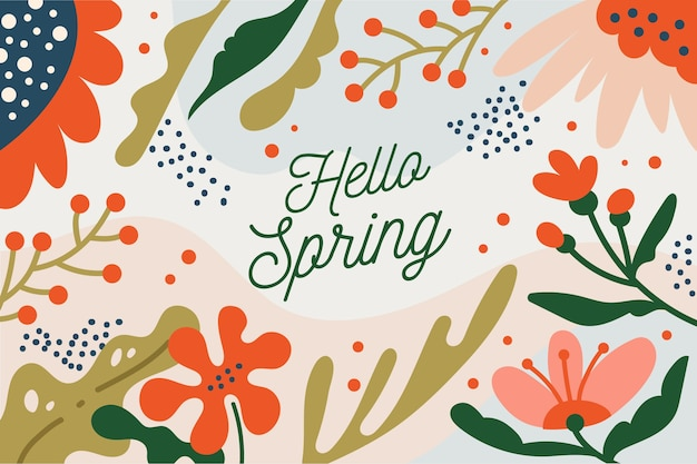 Hello spring lettering style with flowers
