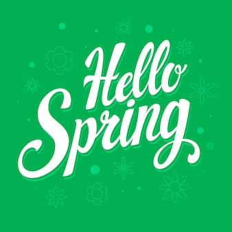 Hello spring lettering theme