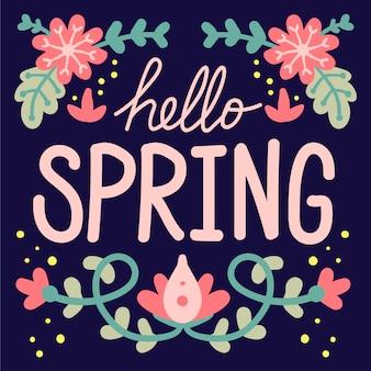 Hello spring lettering wallpaper