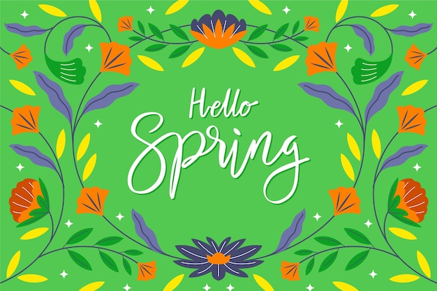 Hello spring lettering wallpaper