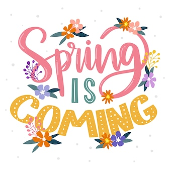 Hello spring lettering on white background with dots