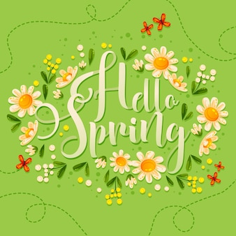 Hello spring lettering with beautiful flowers