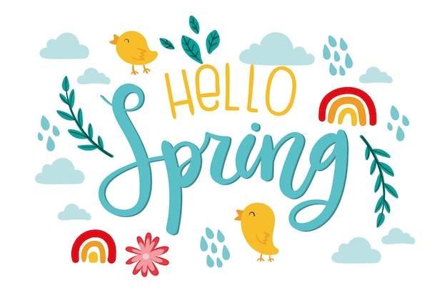 Hello spring lettering with birds and rainbows