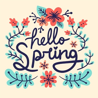 Hello spring lettering with blue branches of leaves