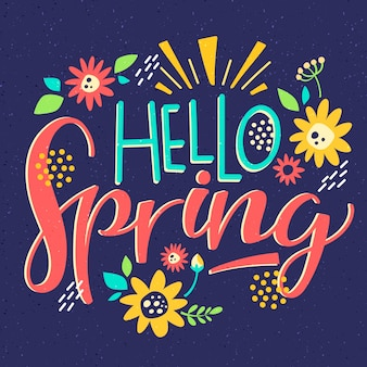 Hello spring lettering with colorful decoration