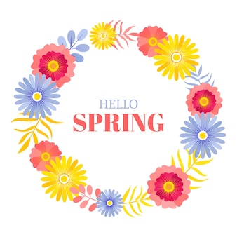 Hello spring lettering with colorful floral frame