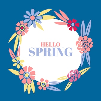 Hello spring lettering with colorful frame