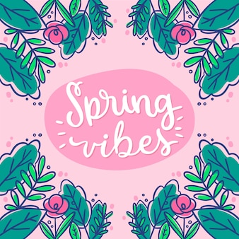 Hello spring lettering with colorful hand drawn decoration