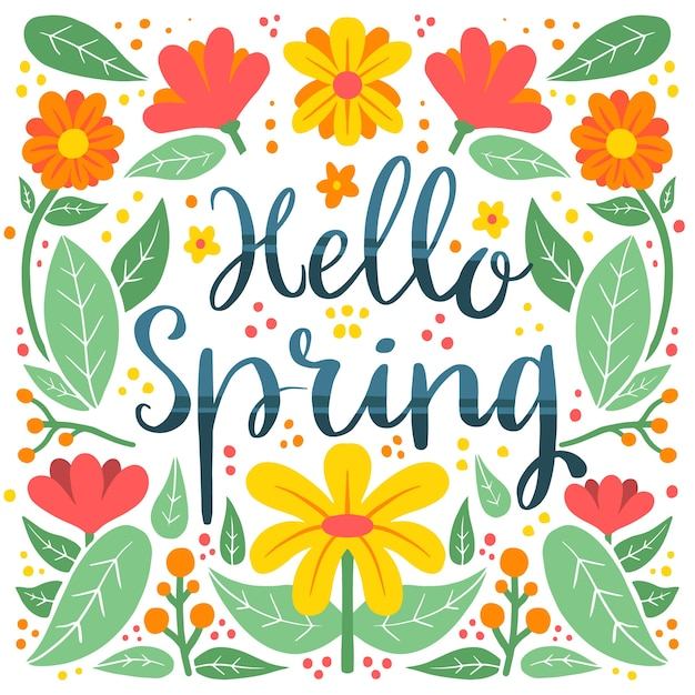 Hello spring lettering with colourful flowers and petals