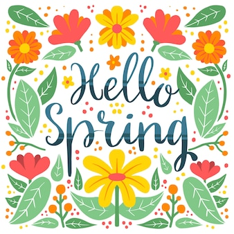 Ciao primavera lettering con fiori colorati e petali