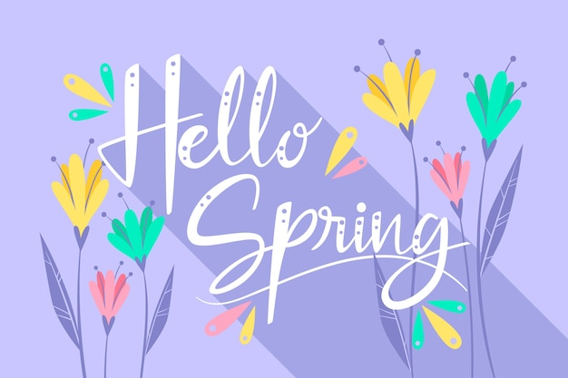Hello spring lettering with colourful flowers