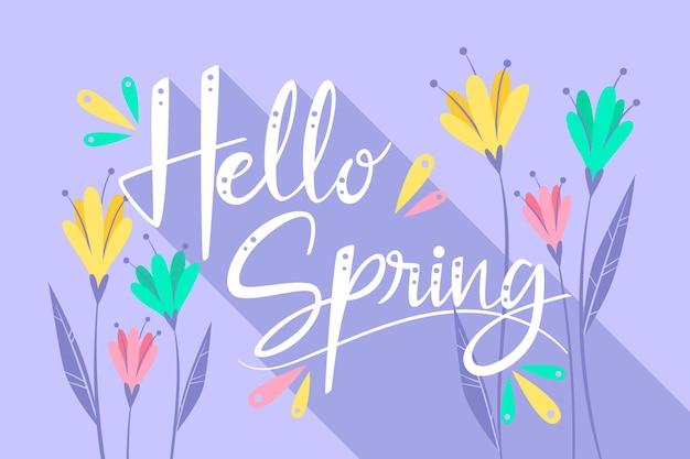 Ciao scritte di primavera con fiori colorati