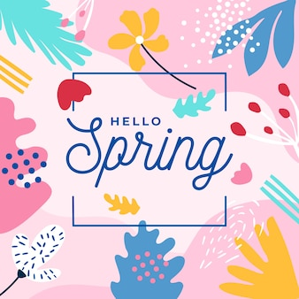 Hello spring lettering with colourful leaves