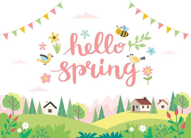 안녕하세요 귀여운 새, 꿀벌, 꽃, 나비와 함께 봄 글자. 손으로 그린 평면 만화