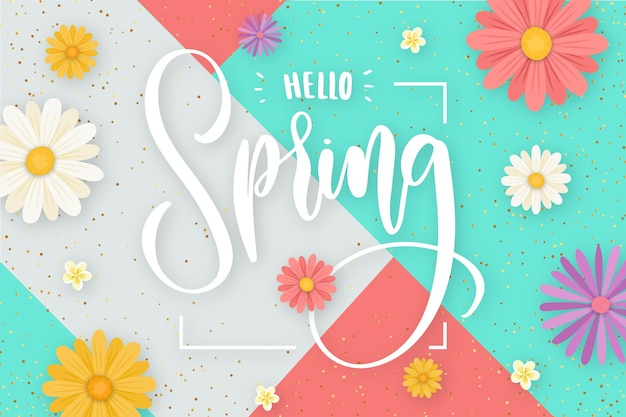 Hello spring lettering with decoration concept