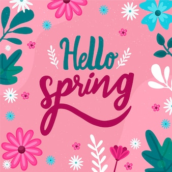 Hello spring lettering with decoration design