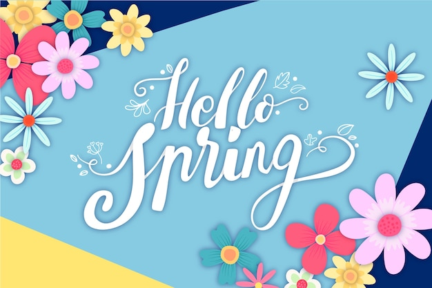 Hello spring lettering with decoration theme