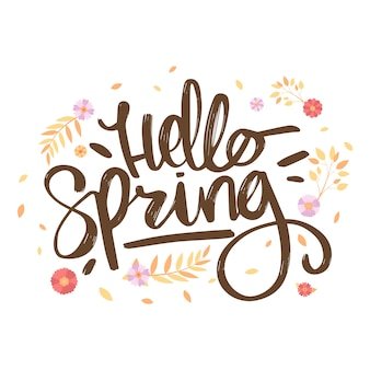 Hello spring lettering with decoration
