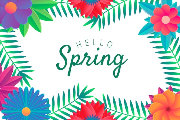 Hello spring lettering with floral frame