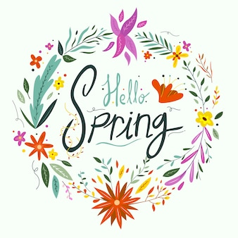 Hello spring lettering with flowers