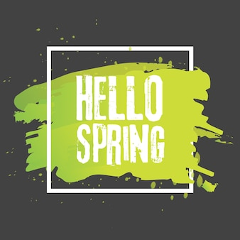 Hello spring. lettering with hand drawn letters. label and banner template with green leaves with frame vector illustration. black background