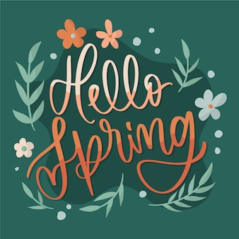 Hello spring lettering with leaves and cute flowers in gradient