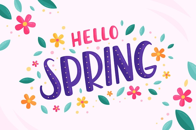 Hello spring lettering with leaves and flowers