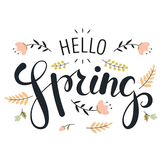 Hello spring lettering with minimalist leaves