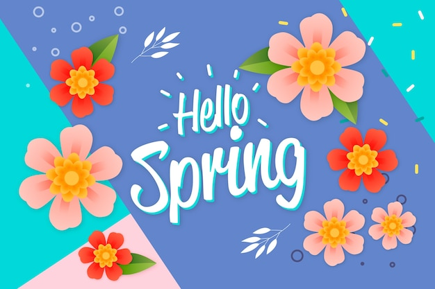 Hello spring lettering with multicolored decoration