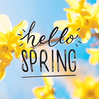 Hello spring lettering with photo style