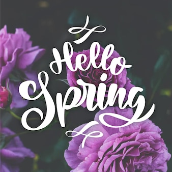 Hello spring lettering with photo theme