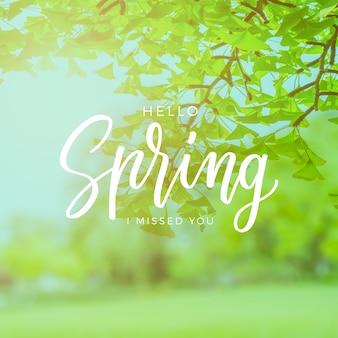 こんにちは写真と春のレタリング