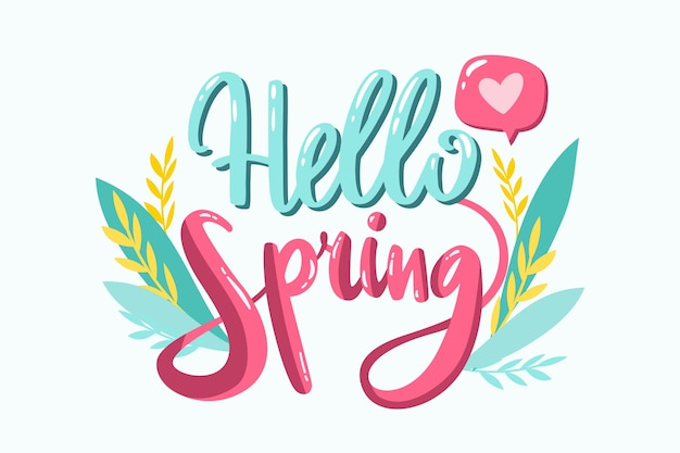 Hello spring lettering with plants